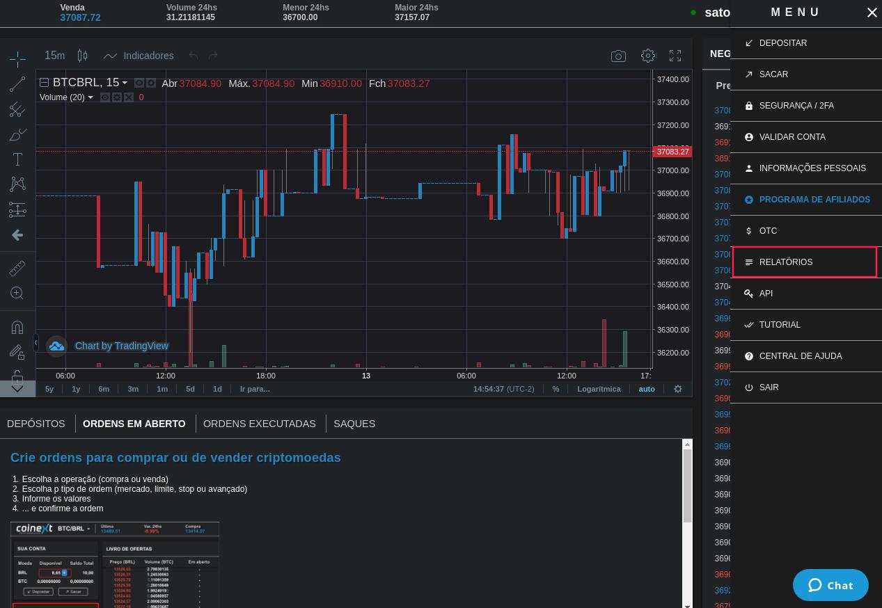 Interface plataforma Coinext - relatórios
