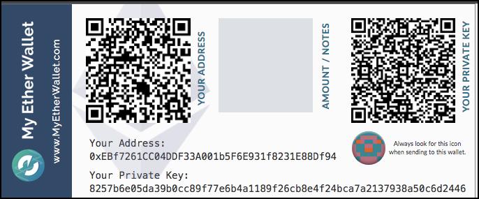 Exemplo de carteira de papel - paper wallet
