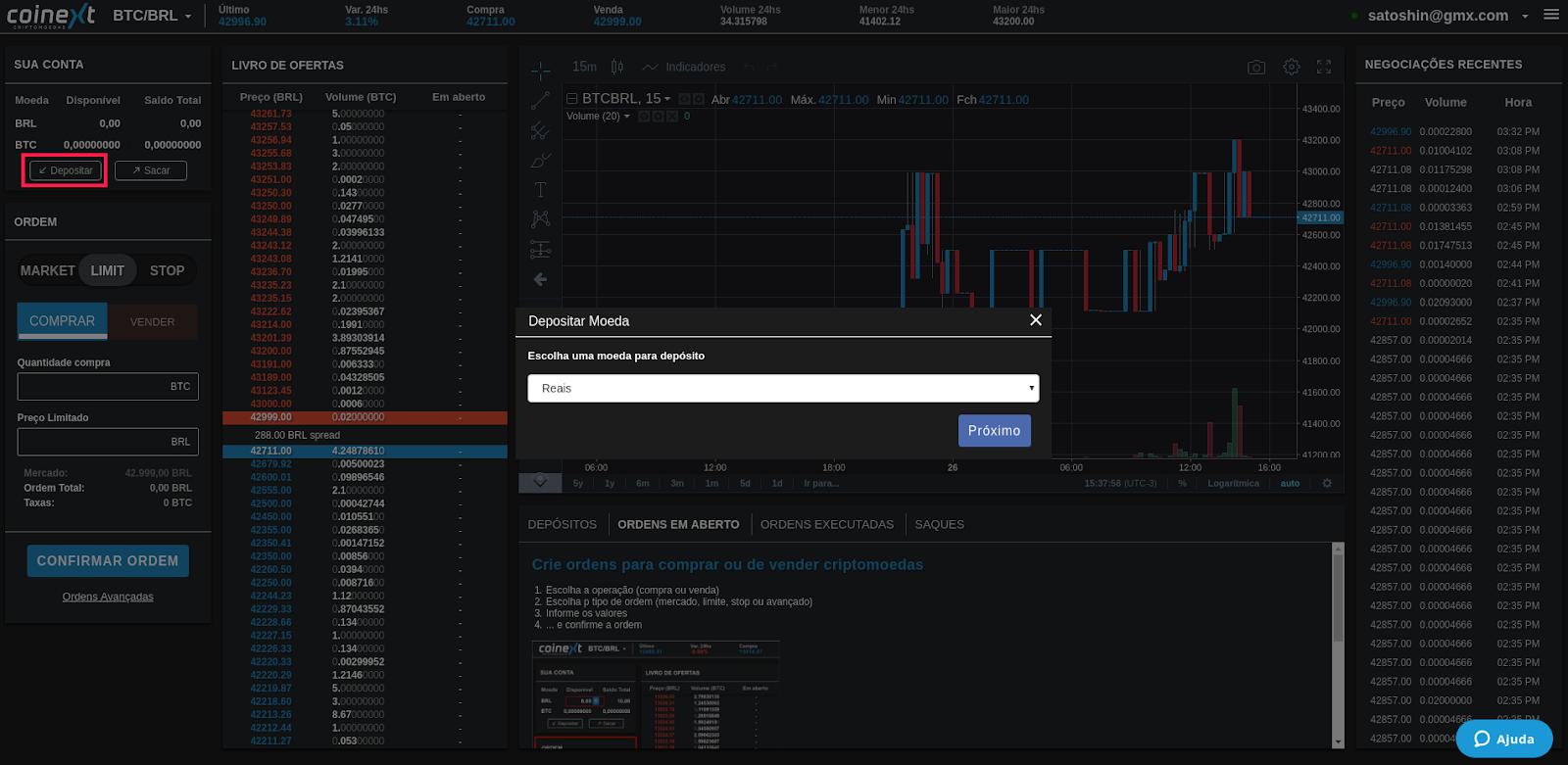 Interface plataforma Coinext - Depositar