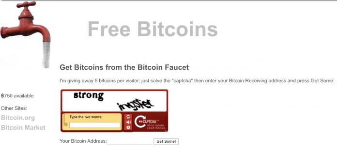 Primeira faucet de Bitcoin