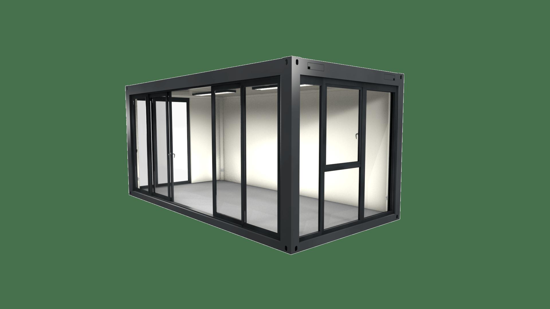 Container Modul 2 mit Schiebetür und Glasfront