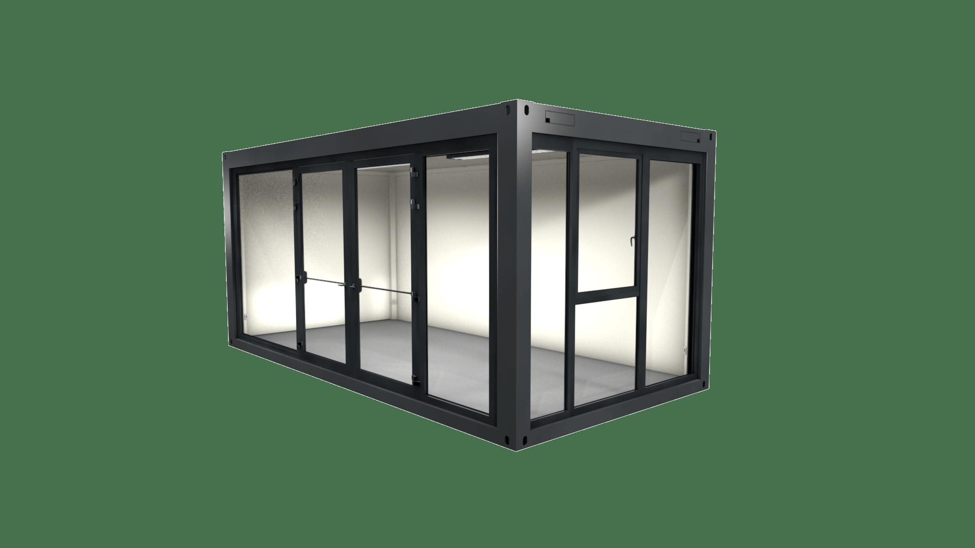 Container Modul 5 mit vollverglaster Front und Doppelflügeltür