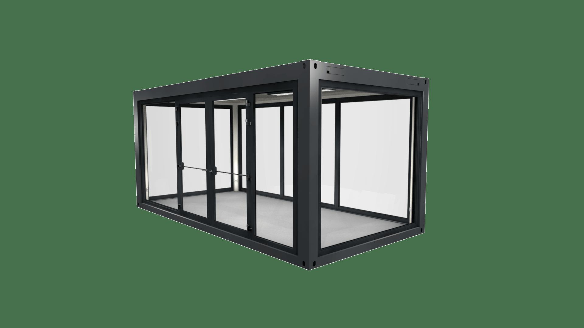 Container Modul 6 mit Panorama Verglasung und Doppelflügeltür