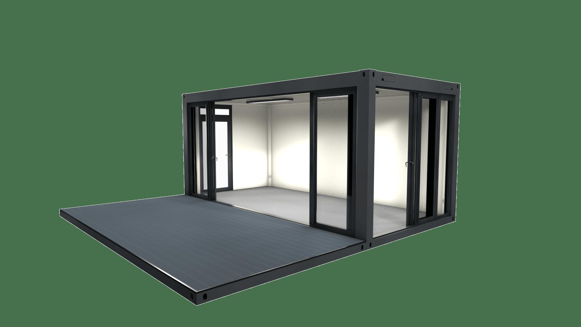 Container Modul 11 mit Schiebetüren und Terrasse