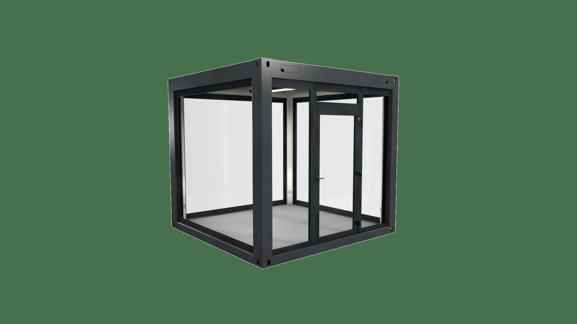 Cube 2 ist ein Containerwürfel mit Rundum-Panorama-Verglasung