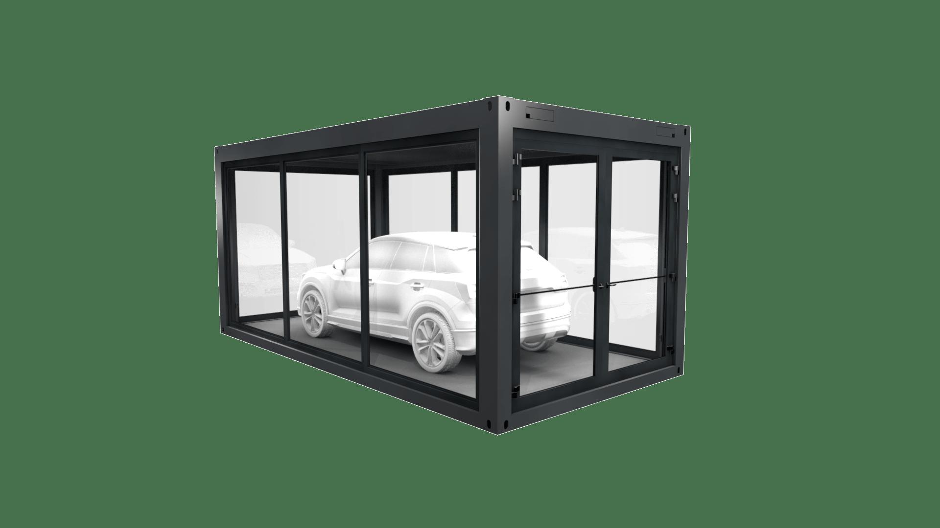 Container Modul 14 mit Auto ist rundum Panorama verglast und verfügt über eine extra breite Doppelflügeltür