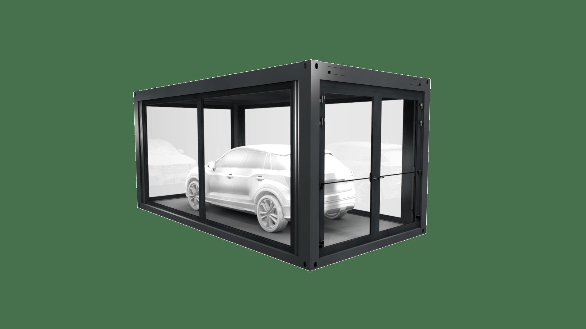 Container Modul 15 ist ein exklusives Showroom mit viel Glas und großer Tür