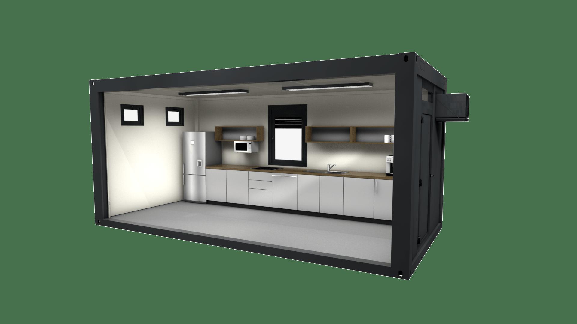 Container Modul 16 ist ein Sonderbau mit Küche