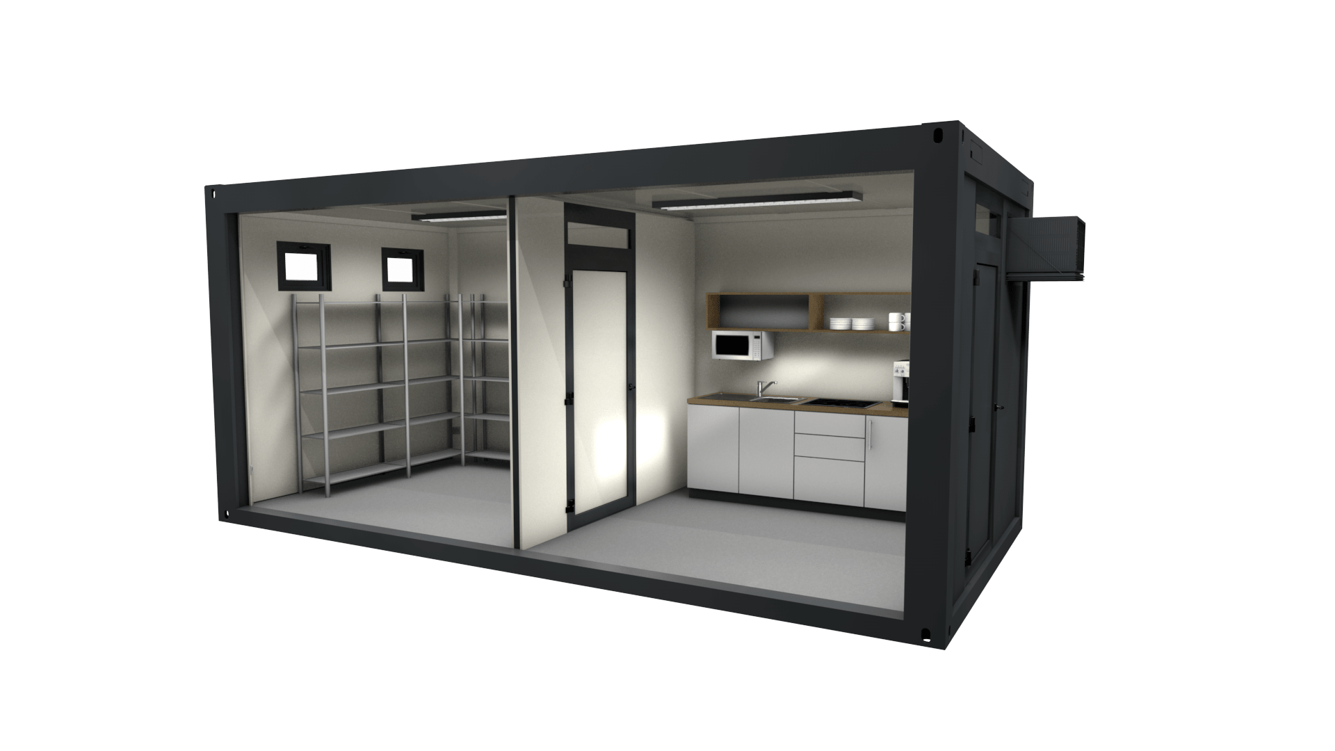 Container Modul 17 ist ein Sonderbau mit Küchenzeile und Lagerraum