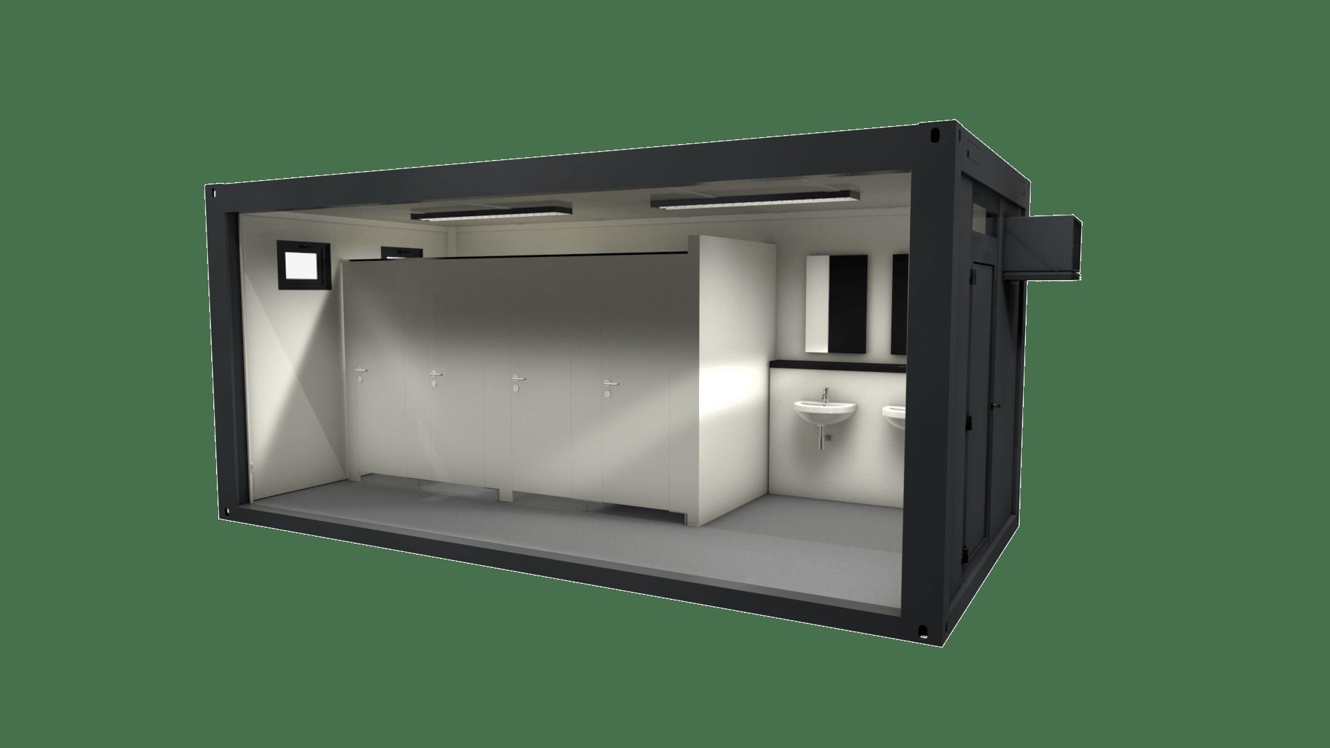 Container Modul 18 ist ein Sanitärcontainer, ausgestattet als Damentoilette