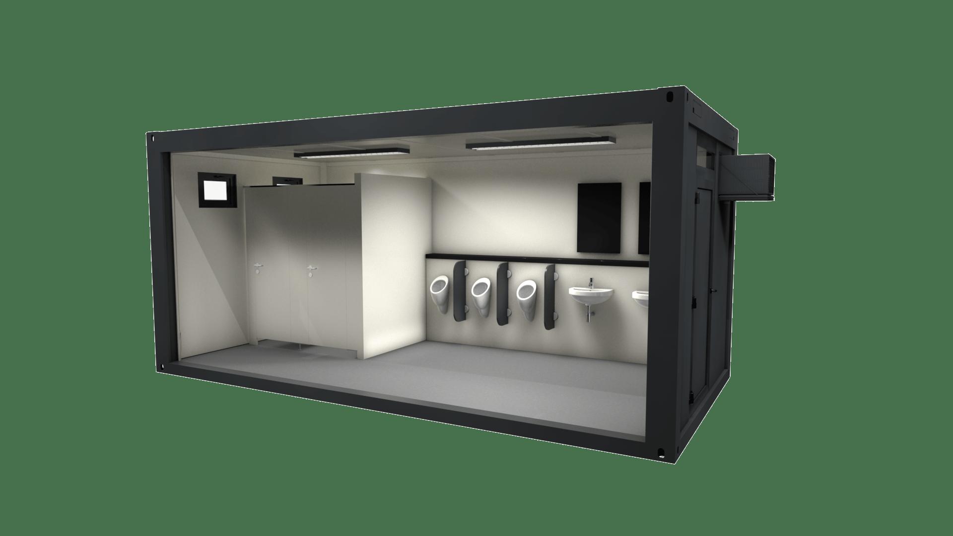 Container Modul 19 ist ein WC Container für Herren
