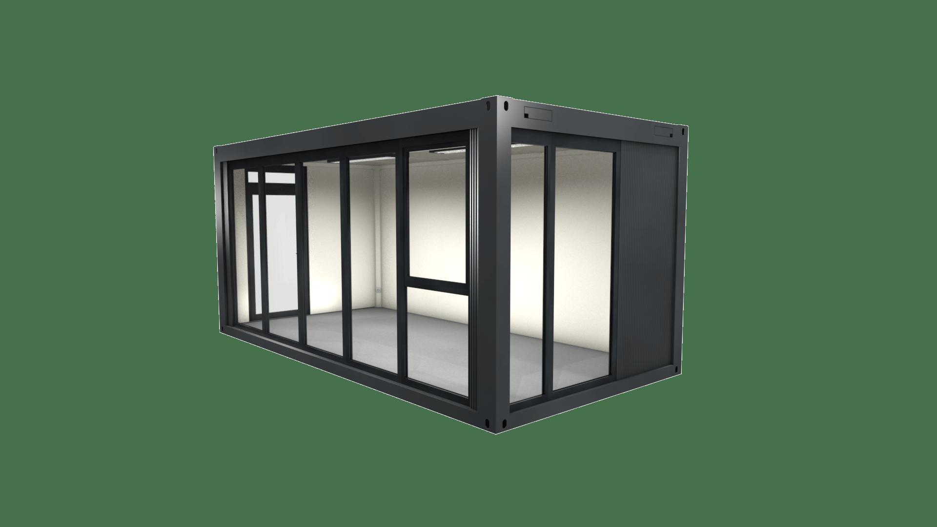 Container Modul 20 ist fünfteilig verglast mit Kippfenster
