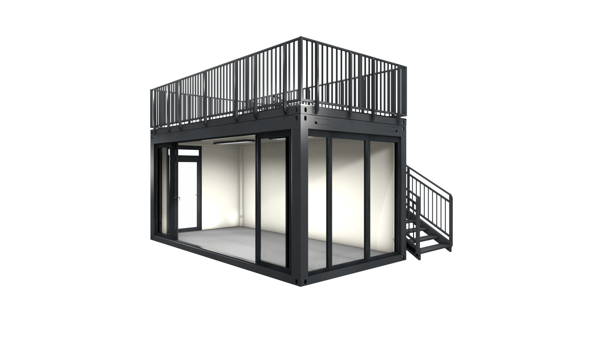 Container Modul M 20 mit Dachterrasse und Schiebetür
