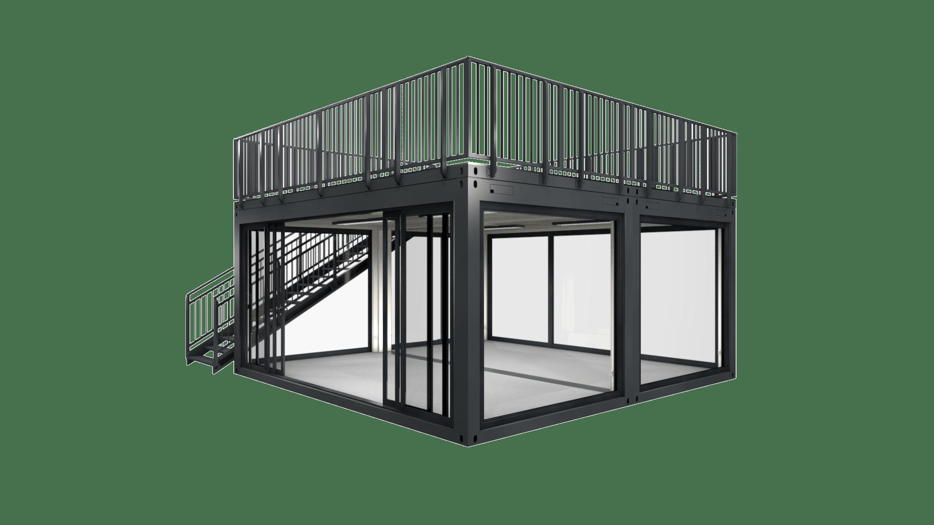 Container Modul M 21 hat 36 Quadratmeter und eine ebenso grosse Dachterrasse