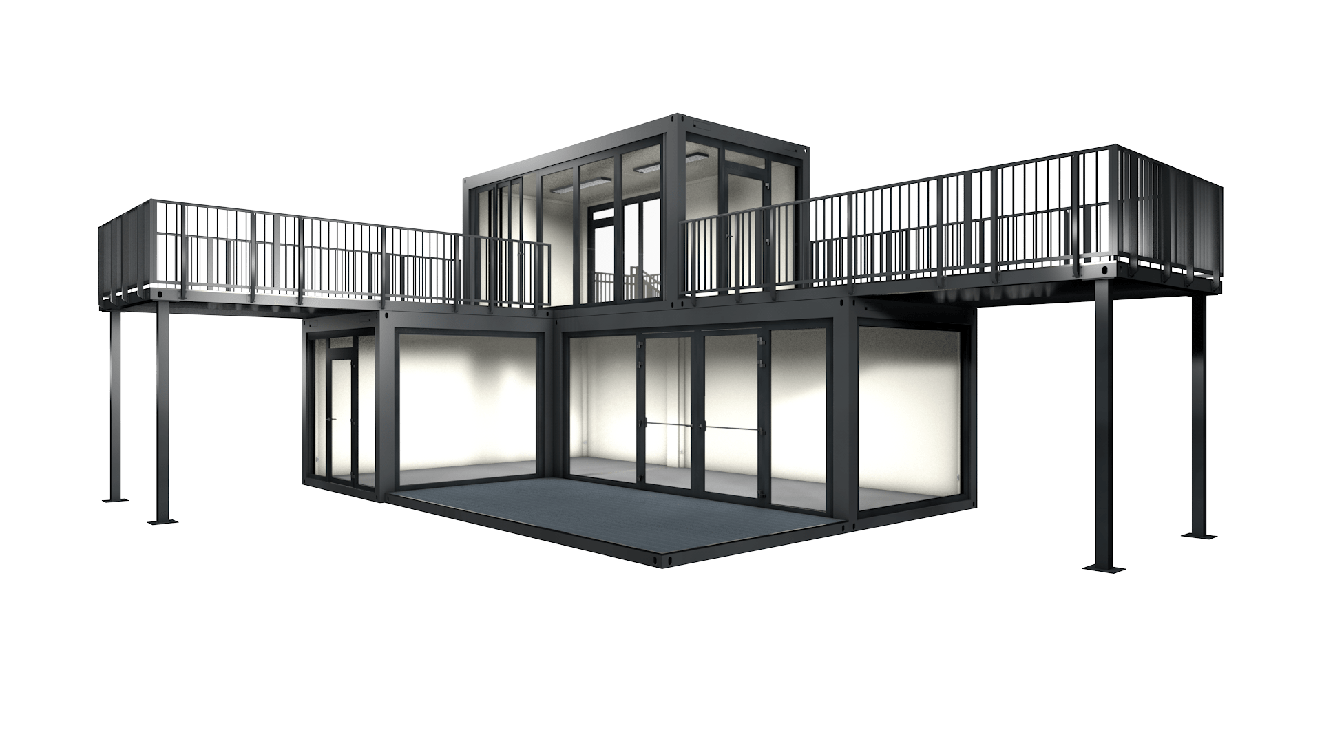 Container Modul M 22 mit Terasse, Dachterasse und Treppe