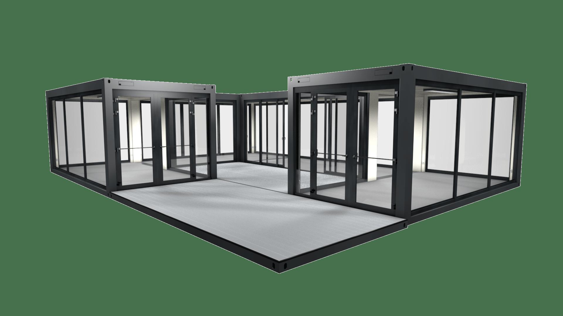Container Modul M 23 ist ein Showroom mit Panorama Verglasung und Innenhof