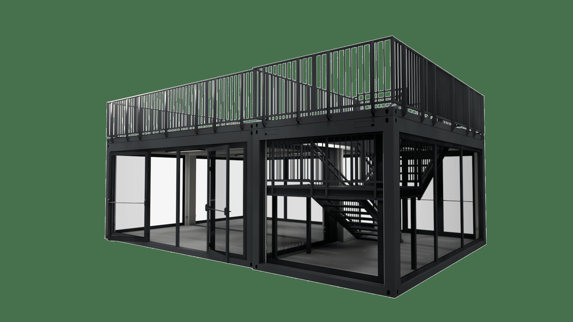 Container Modul M 24 hat eine Dachterrasse, ein Treppenhaus und zwei Doppelflügeltüren
