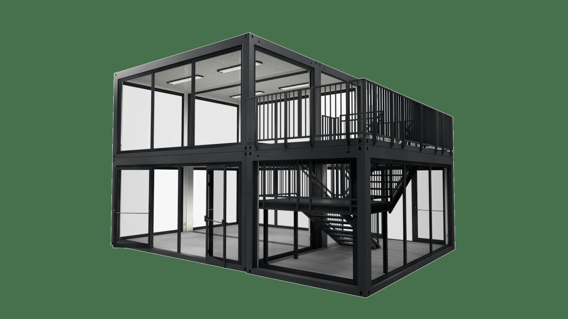 Container Modul M 25 ist zweistöckig mit Dachterasse und viel Glas