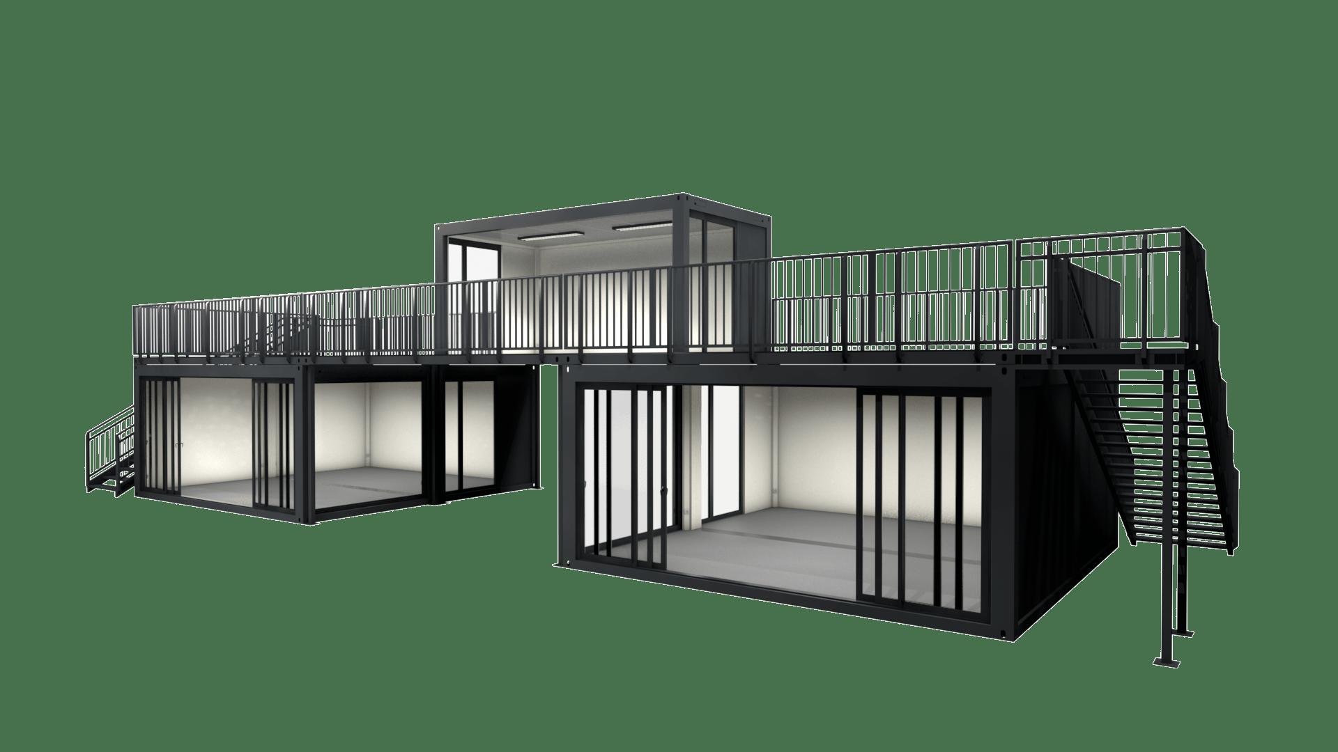 Container Modul M 26 verfügt über eine Dachterasse, ein Treppenmodul und eine große Schiebetür