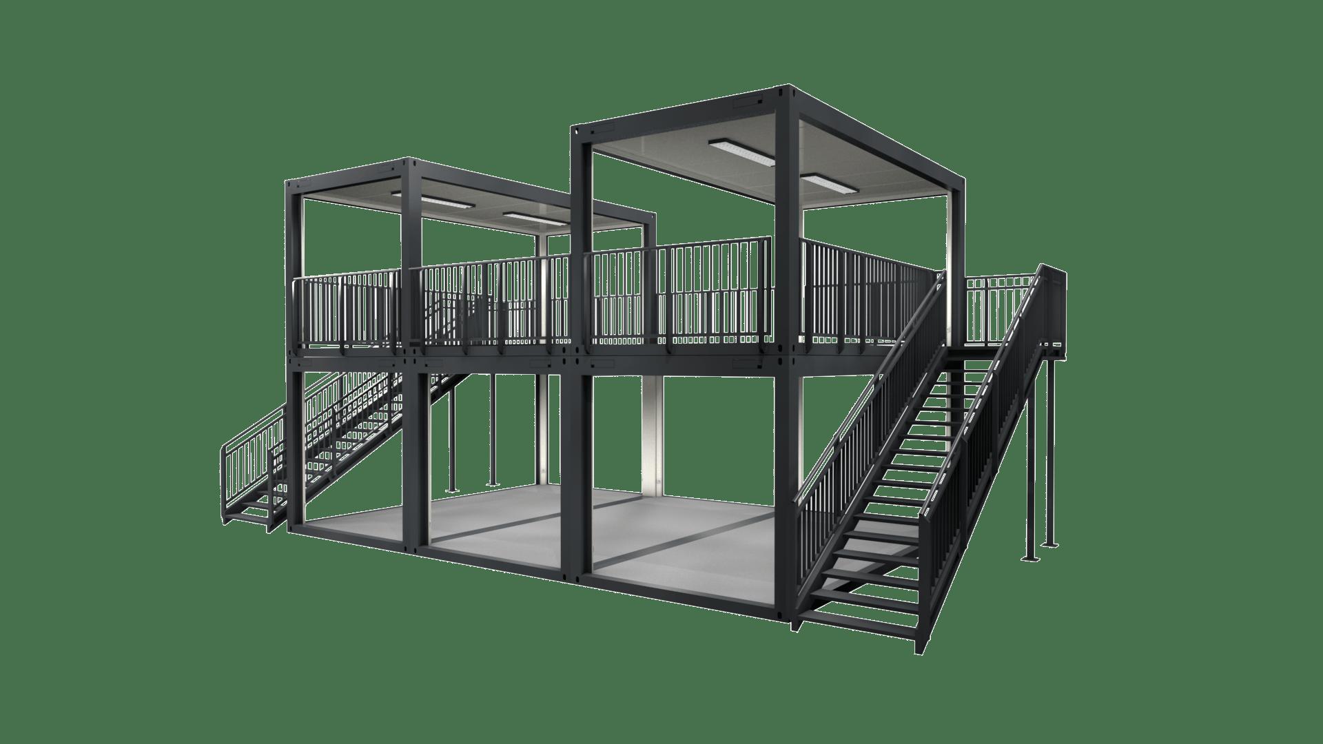 Container Modul M 27 besteht aus fünf Containern mit Terrasse