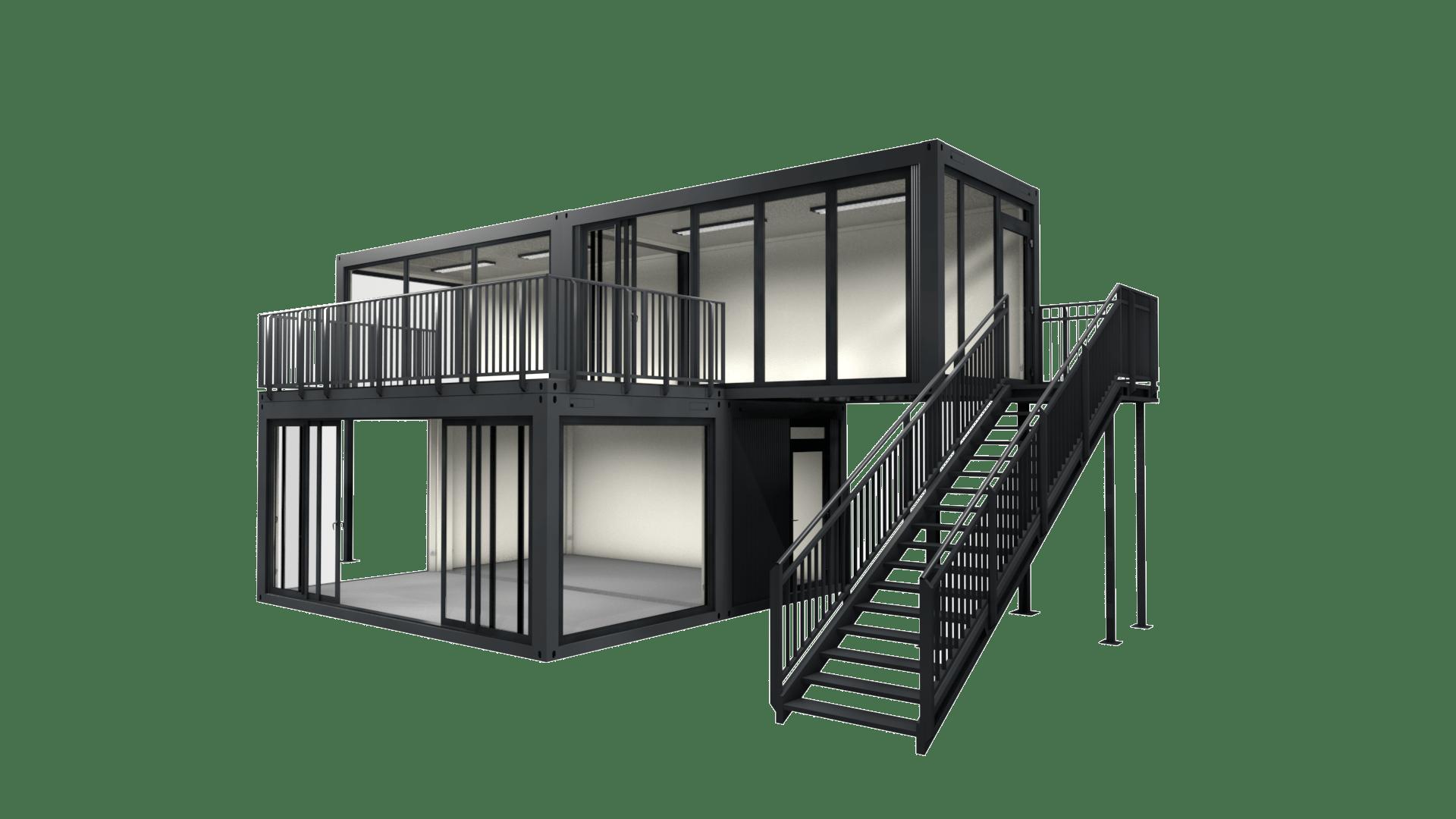 Container Modul M 28 mit Schiebetür, Treppe und Dachterrasse