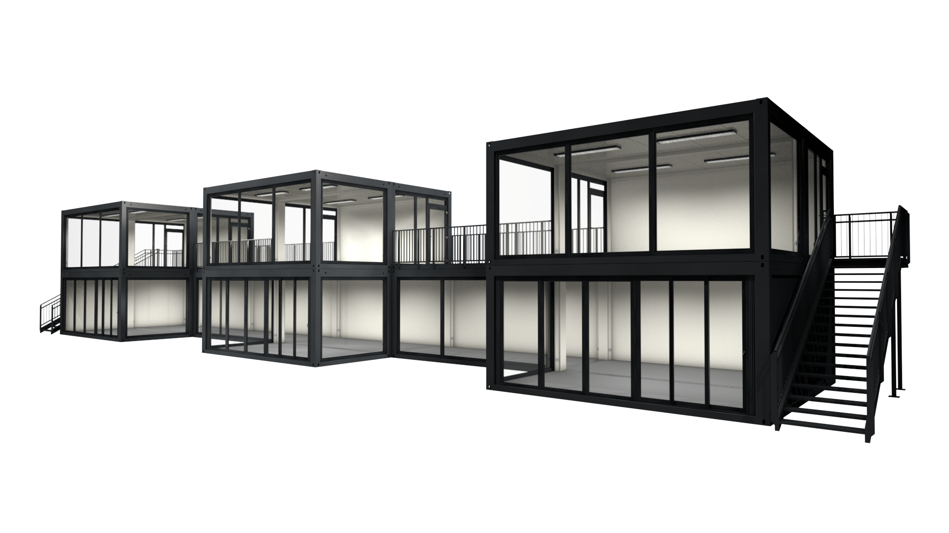 Container Modul M 29 ist ein großer Containerbau bestehend aus 14 Raummodulen