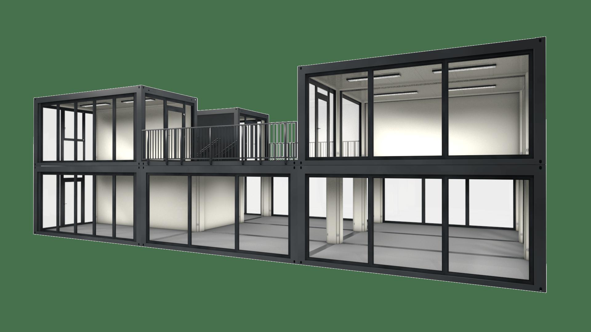 Container Modul M 30 ist eine große, zweigeschossige Containeranlage mit Dachterrasse