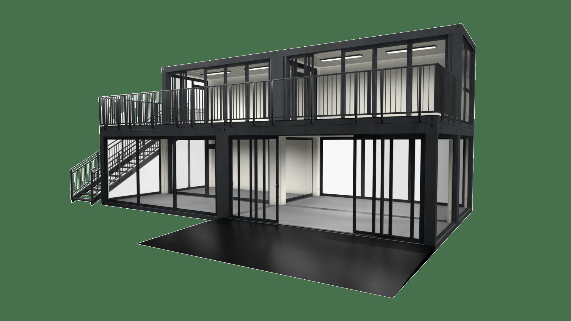 Container Modul M 31 ist eine Doppelstockanlage mit Dachterrasse