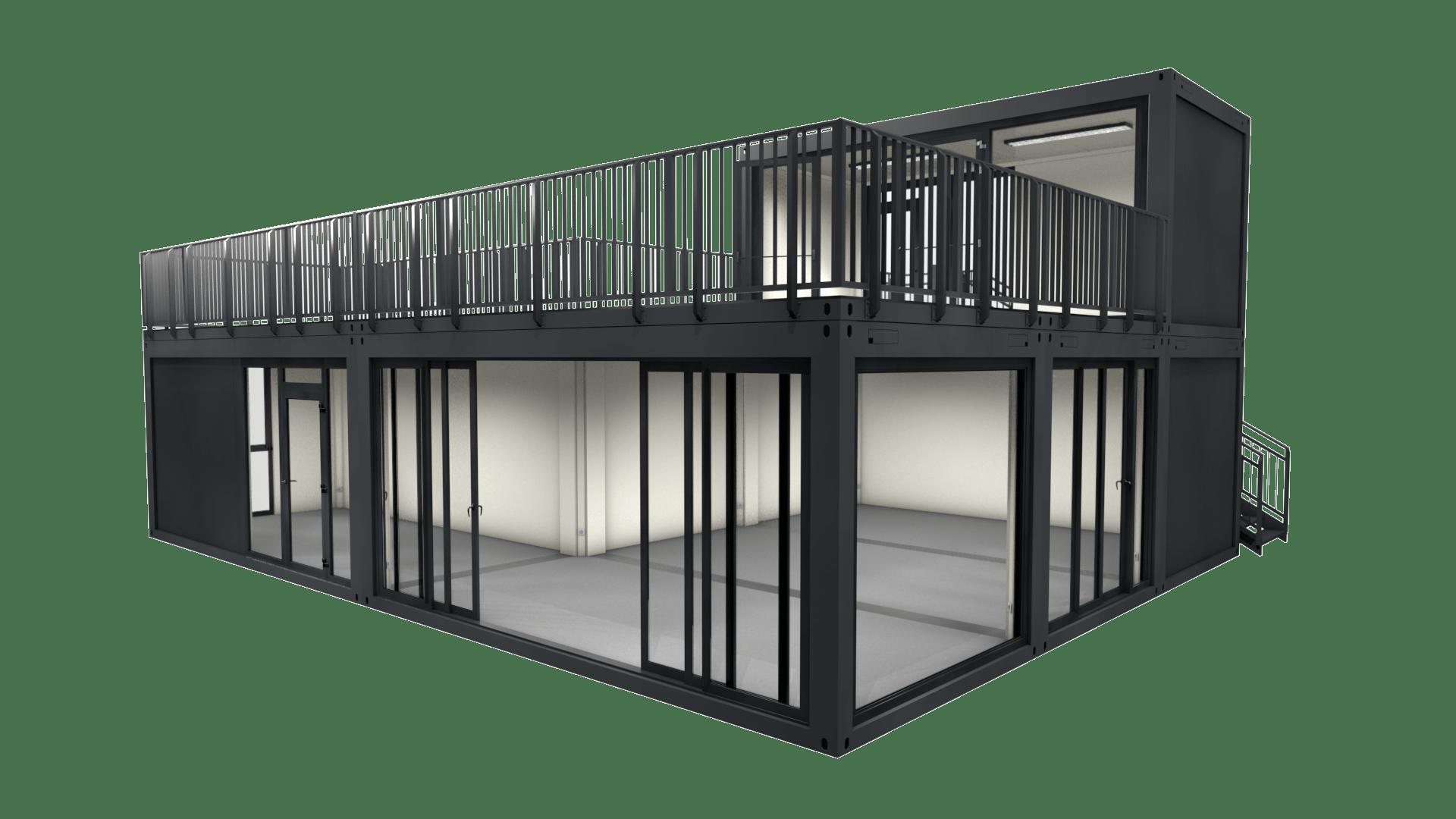 Container Modul M 32 ist ein Containergebäude mit Dachterrasse