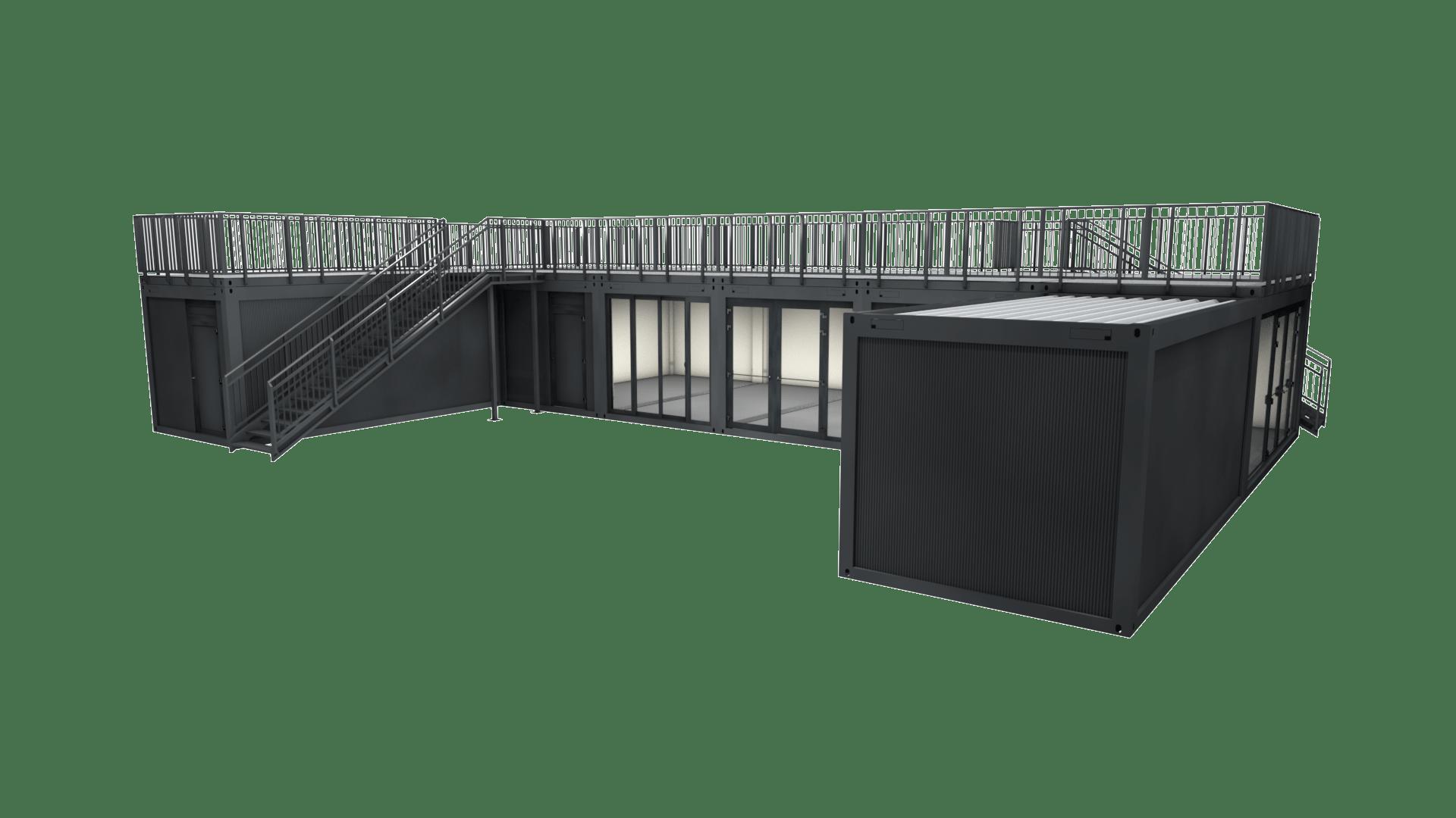 Container Modul M 33 ist eine große, einstöckige Containeranlage mit Dachterrasse