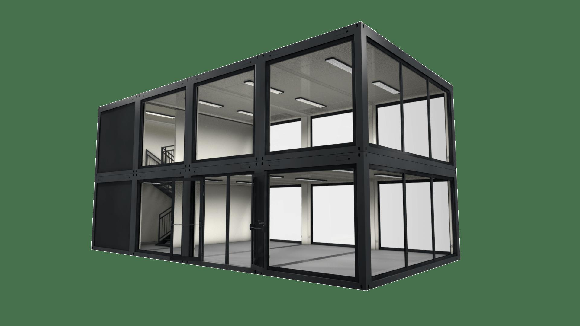 Container Modul M 34 ist eine Containergebäude mit 2 Etagen und 140 Quadratmetern Nutzfläche