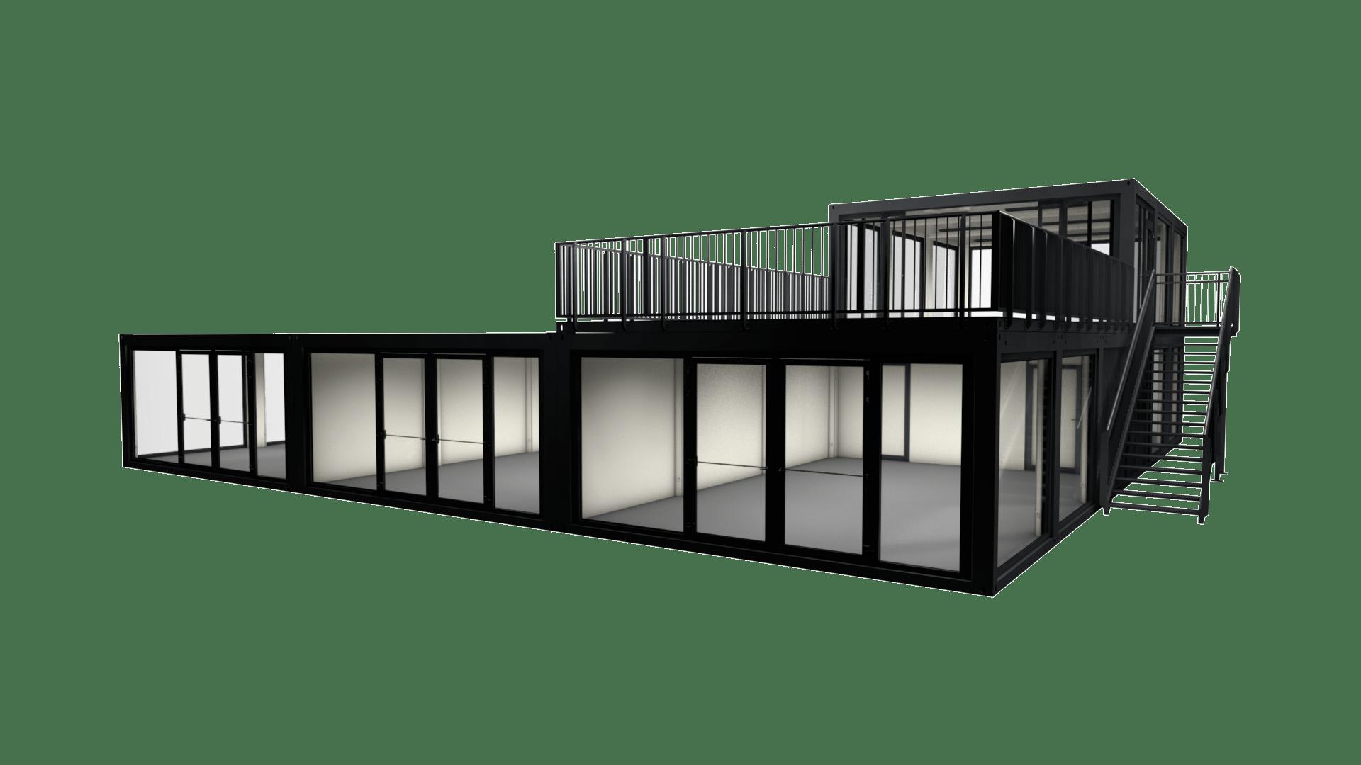 Container Modul M 36 ist ein Containergebäude mit sechs einzelnen Einheiten und Dachterrasse