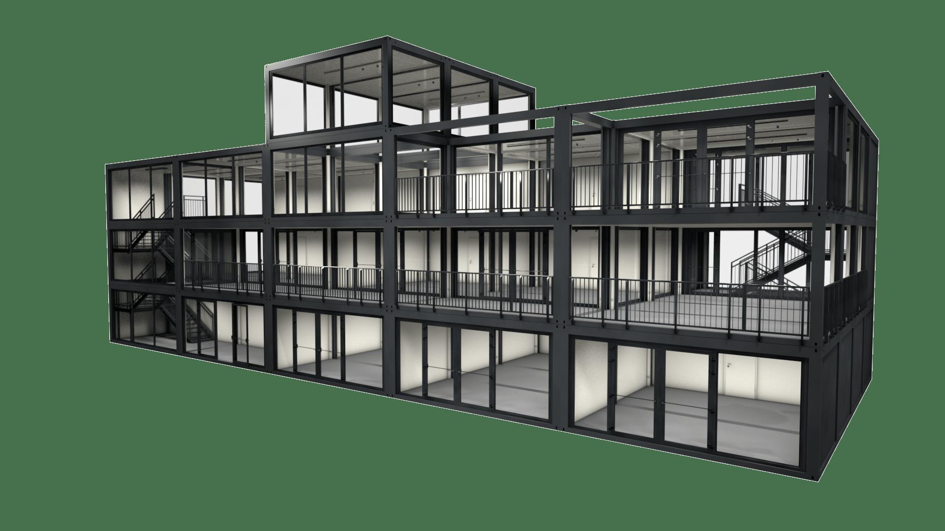 Container Modul M 37 ist eine kompakte Containeranlage mit 3 Stockwerken und ideal geeignet als Bürogebäude