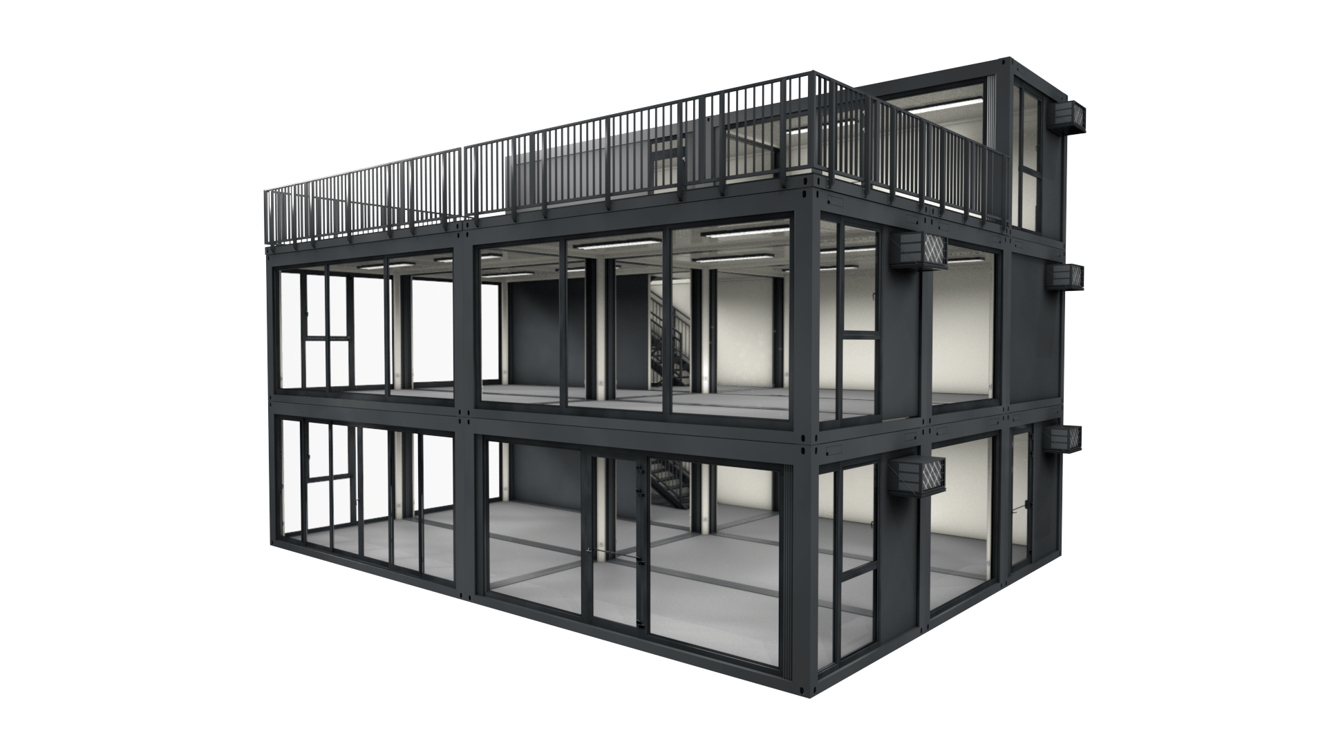 Container Modul M 41 ist ein modulares Gebäude mit 3 Stockwerken und Dachterrasse