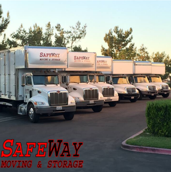 Moving trucks aligned left to right with Safe Way logo