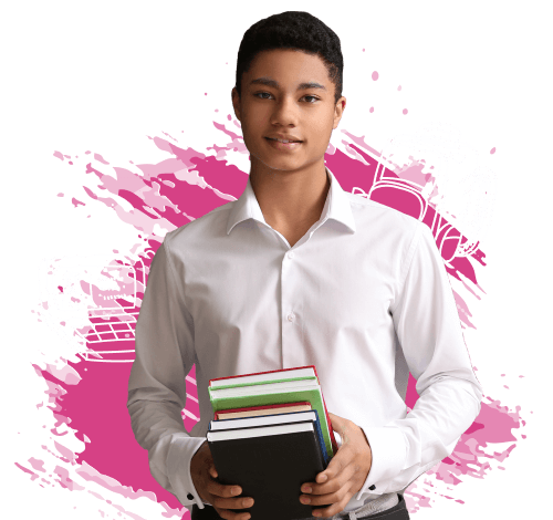 A boy holding school books.