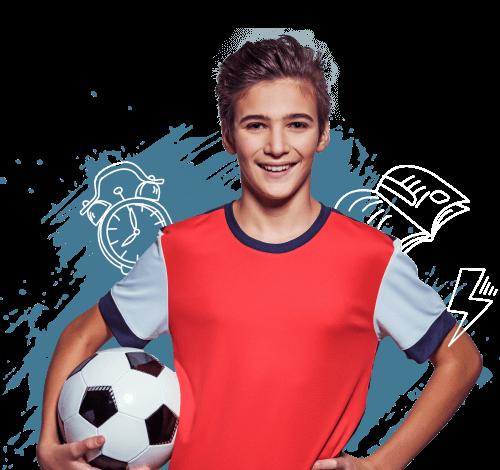A boy holding a soccer ball.