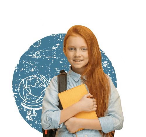 A girl holding a book.