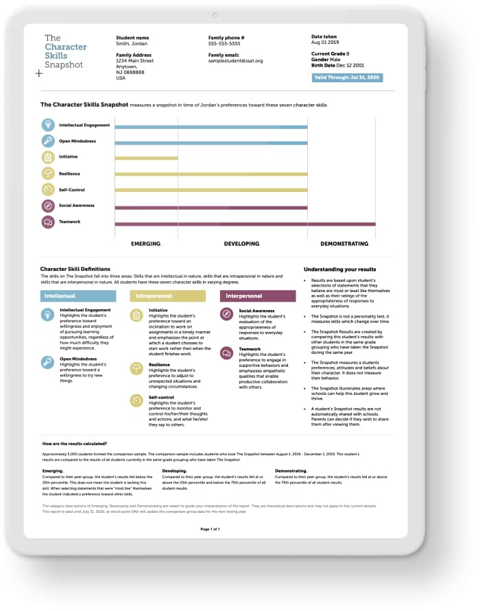 A tablet showing the Character Skills Snapshot assessment report.