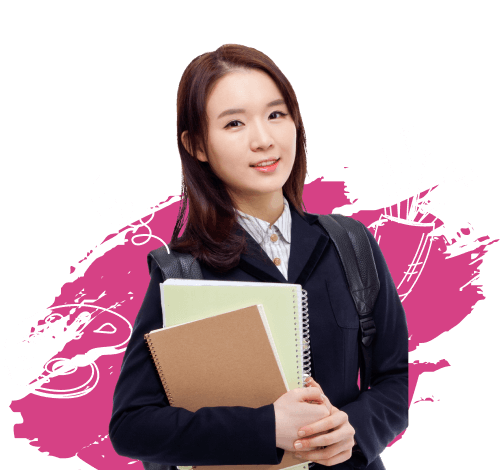 A girl holding a notebook.