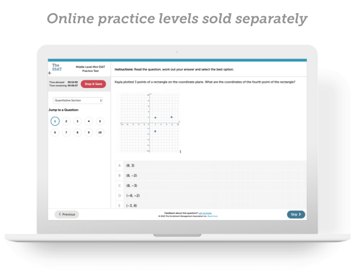 A computer screen showing the official SSAT online practice service.
