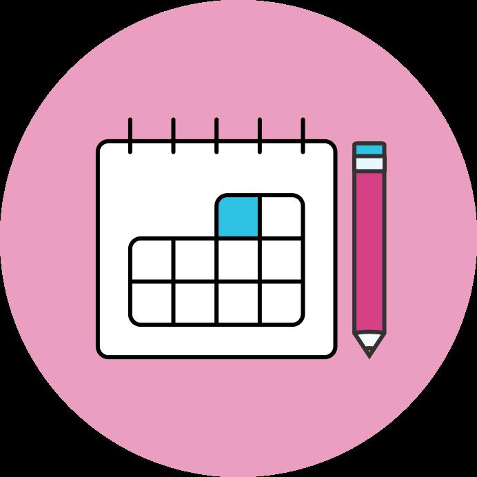 A calendar and pencil icon.