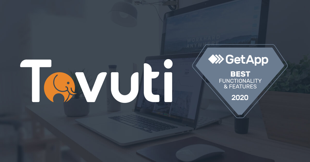 Tovuti Awarded Best Functionality & Features for an LMS by GetApp