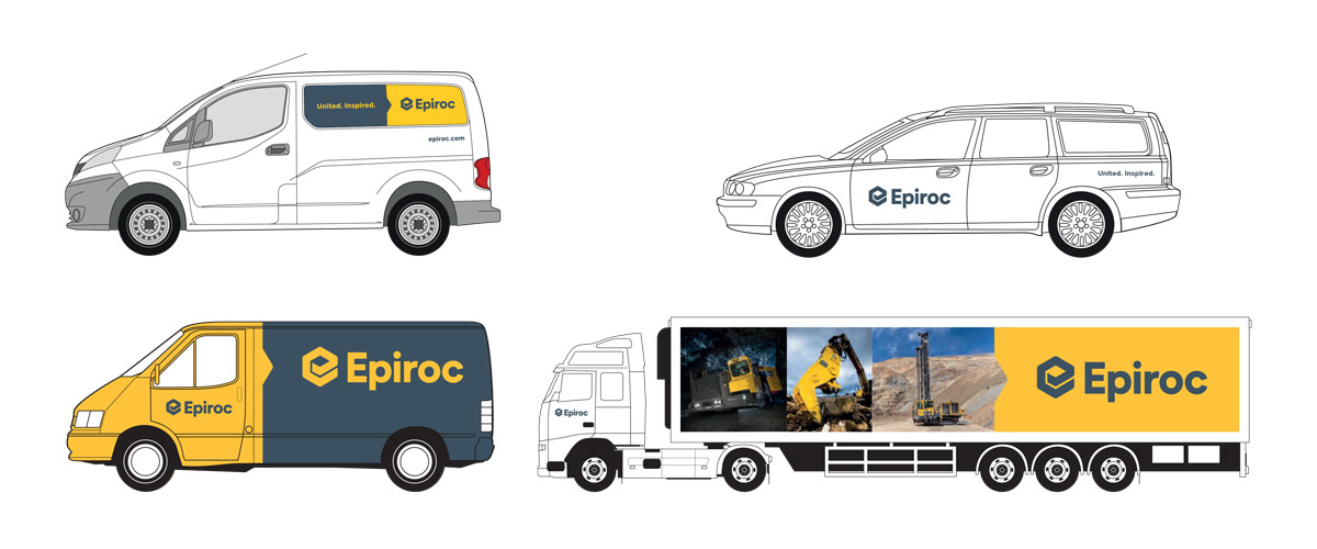Four mock-ups of the Epiroc branding being used on different types of vehicles.