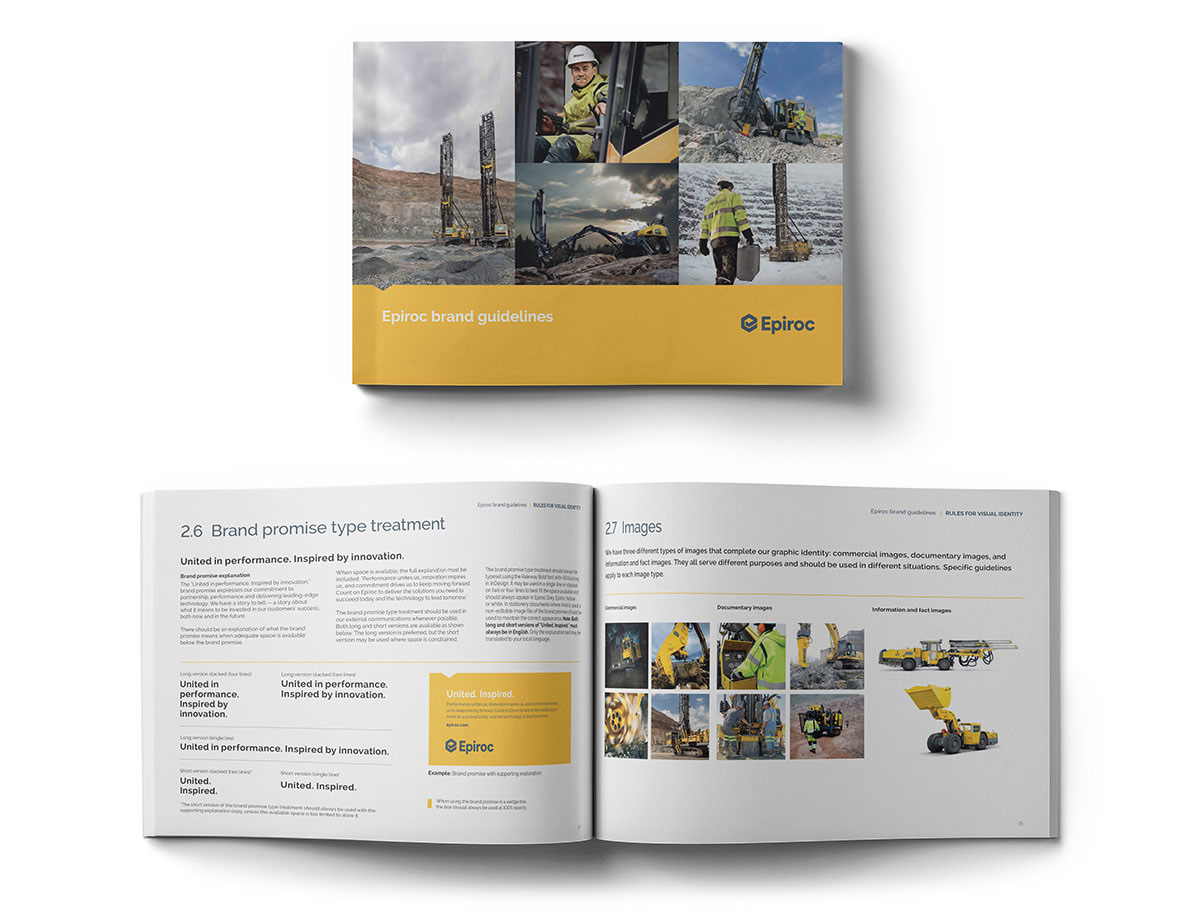 Cover of Epiroc brand guidelines booklet with a view of the opened booklet below.
