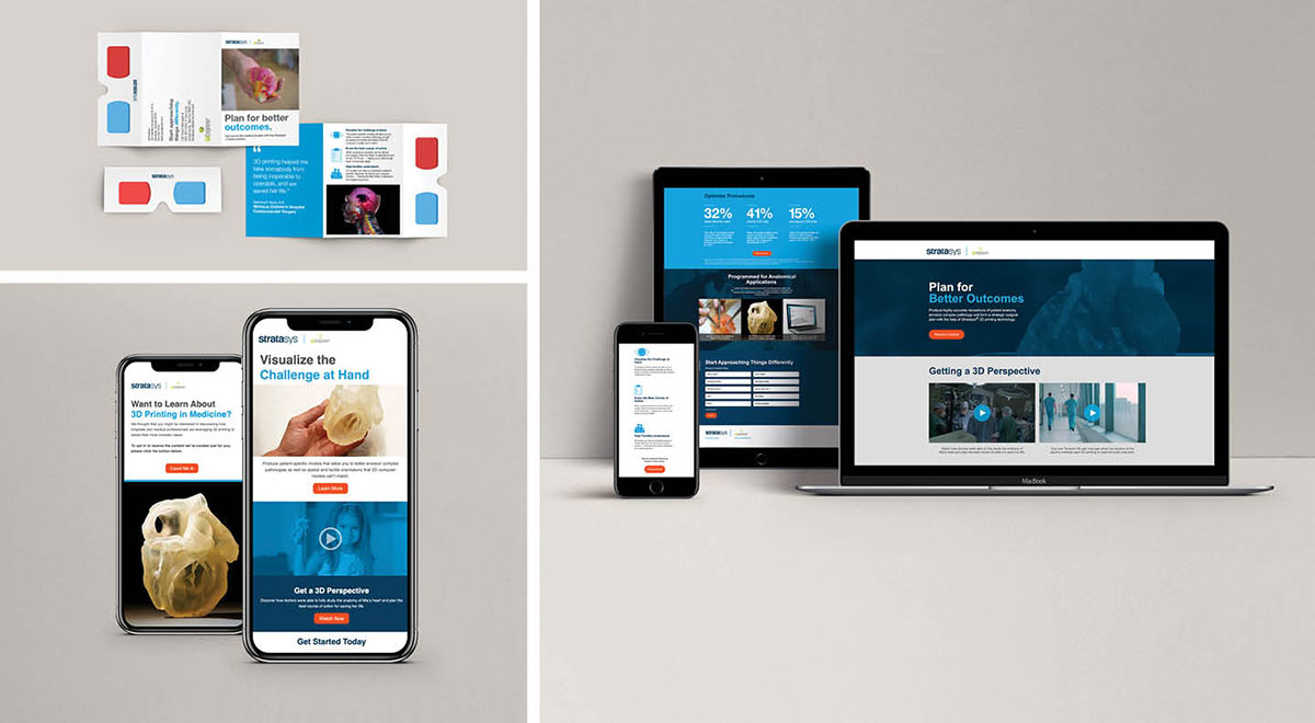 Phone, laptop, and computer screens showing a custom campaign designed for a reseller in the medical field.