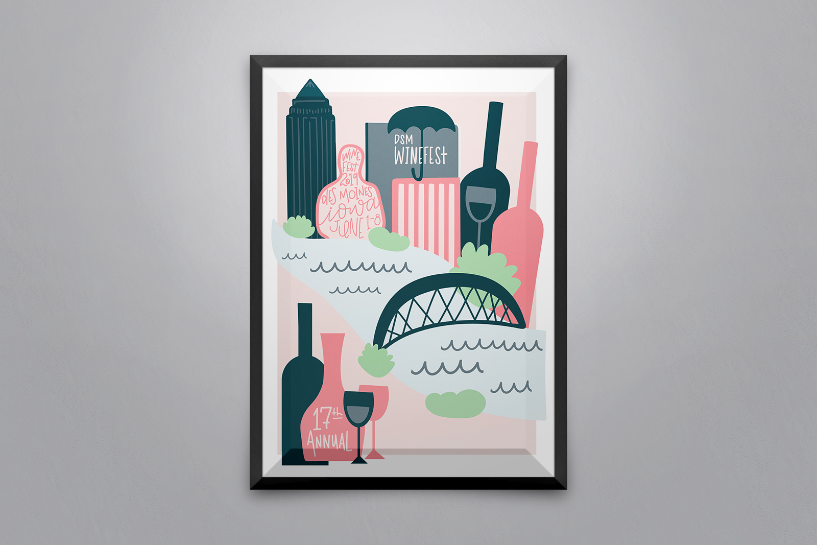 The annual, illustrated Winefest poster showing the Des Moines skyline, river, and wine bottles.