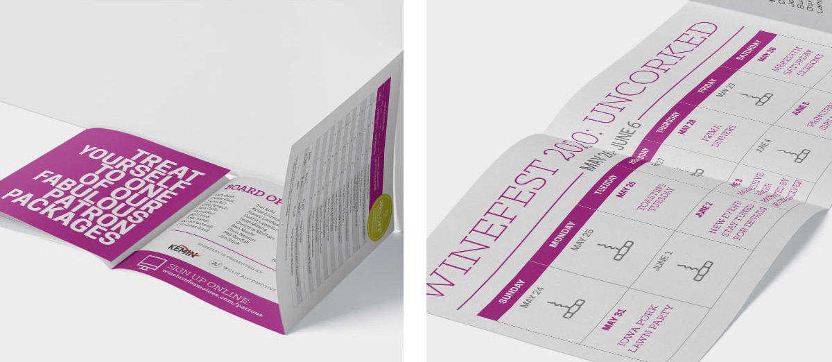 Two images of the Winefest event brochure, both the cover and inside.