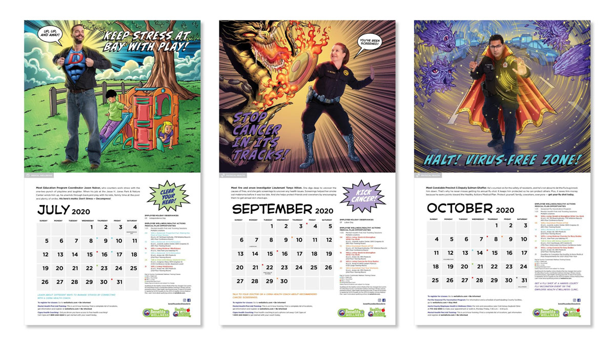 Three images showing different months of the Harris County calendar.