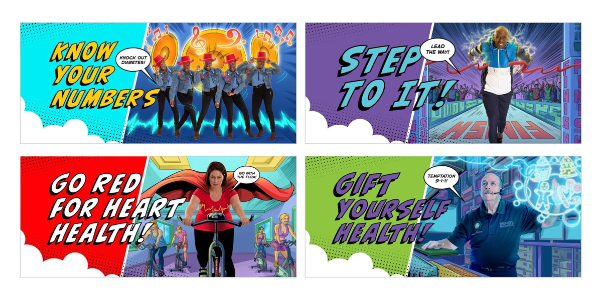 Four examples of Harris County Facebook cover photos showing activities for good health.